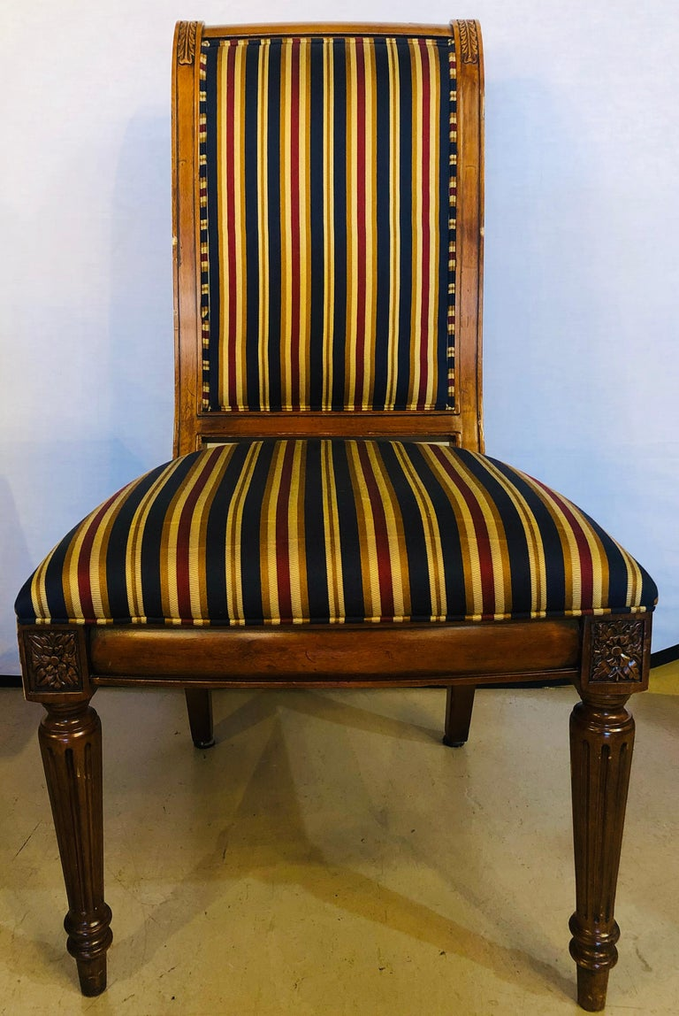 20th Century 10 Louis XVI Style Custom Quality Upholstered Dining Chairs 8 Side/2 Arm For Sale