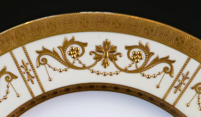Neoclassical 10 Minton Adam-Style Gold Encrusted Plates For Sale
