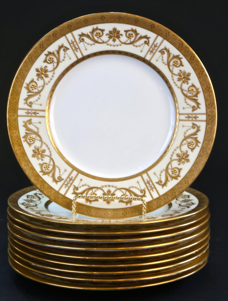 English 10 Minton Adam-Style Gold Encrusted Plates For Sale