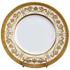 10 Minton Adam-Style Gold Encrusted Plates