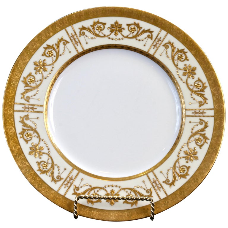 10 Minton Adam-Style Gold Encrusted Plates For Sale