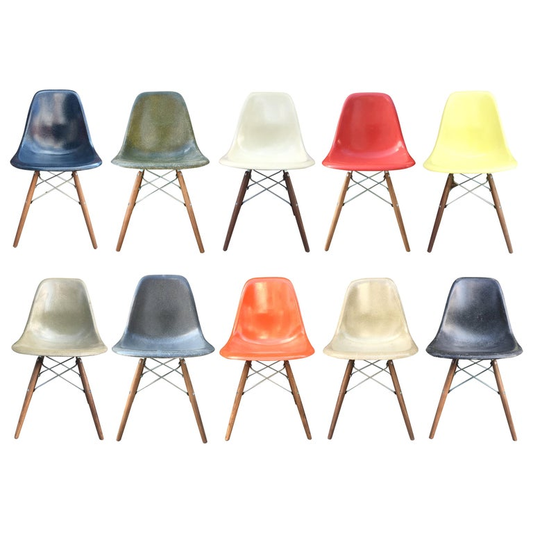 10 Multicolored Herman Miller Eames Dining Chairs For Sale