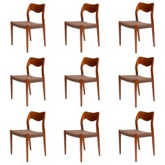 10 Niels O. Møller Dining Chairs Model 71 by J.L. Møllers Møbelfabrik in Denmark