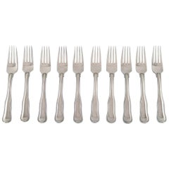 10 Pieces Georg Jensen Old Danish Lunch Fork or Salad Fork