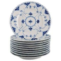 10 Royal Copenhagen Blue Fluted Full Lace Plates in Openwork Porcelain