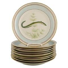 10 Royal Copenhagen Porcelain Fish Plates with Hand-Painted Fish Motifs, 1960
