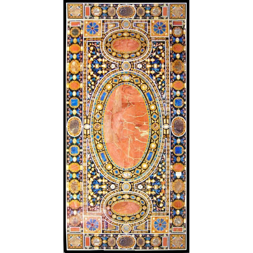 Ten-Seat Dinning Table in Italian Pietre Dure Inlay Mosaic