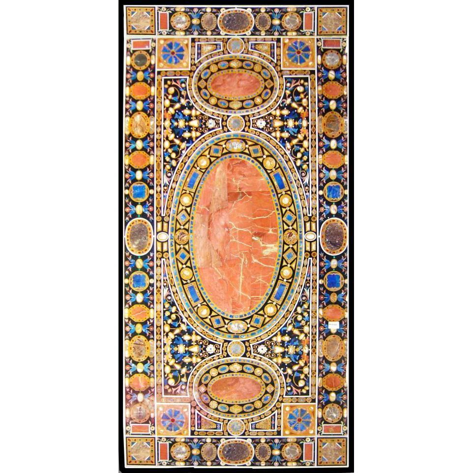 Ten-Seat Dinning Table in Italian Pietre Dure Inlay Mosaic