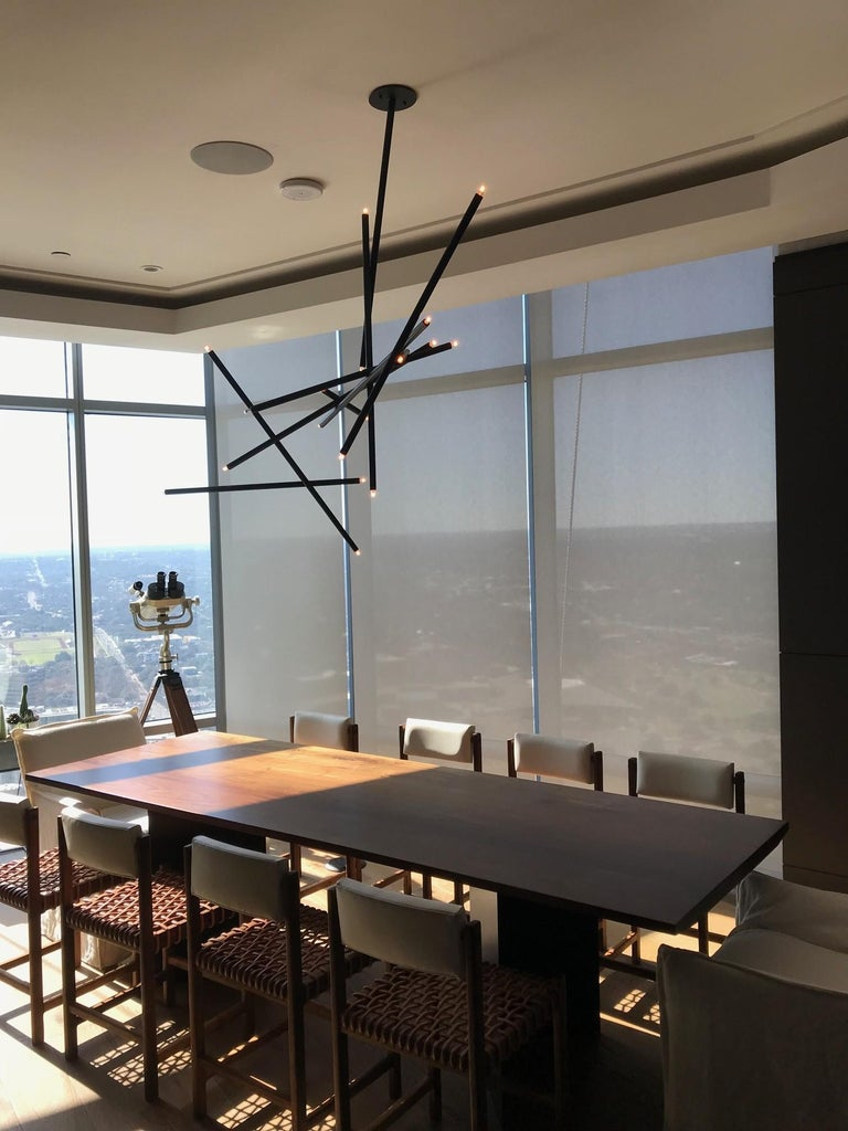 10-Stick Chandelier in Brass by Cam Crockford In New Condition For Sale In Brooklyn, NY