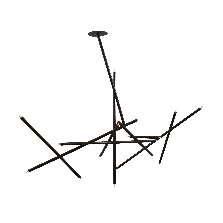 10-Stick Chandelier in Brass by Cam Crockford