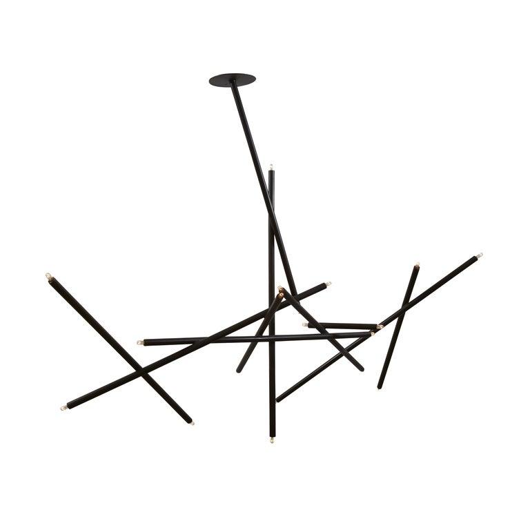 For Sale: Black (Blackened Brass) 10-Stick Chandelier in Brass by Cam Crockford