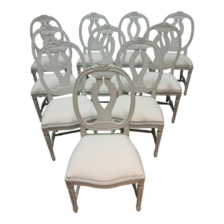 10 Swedish Gustavian Side Chairs For Sale