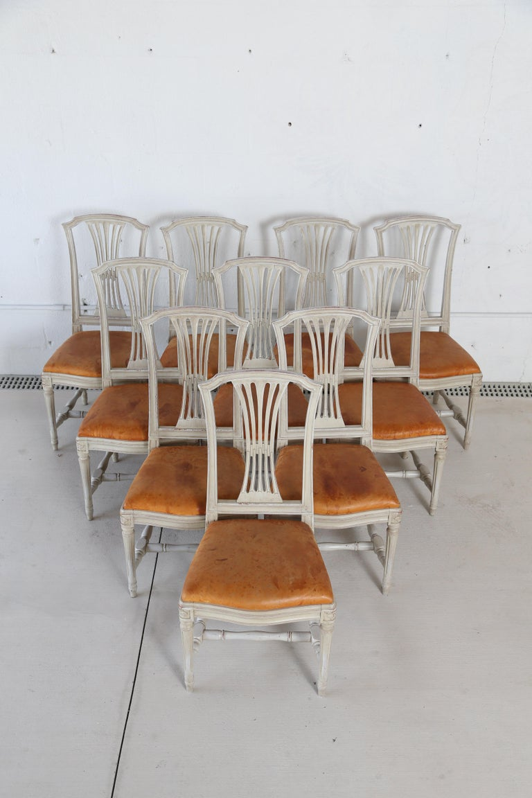 10 Swedish Gustavian style painted dining chairs, in Swedish white paint. Openwork splat back, gently arched tops, round fluted legs joined by H-shaped stretchers. Drop in seats with distressed cognac color leather, mid-20th century  Measures: H