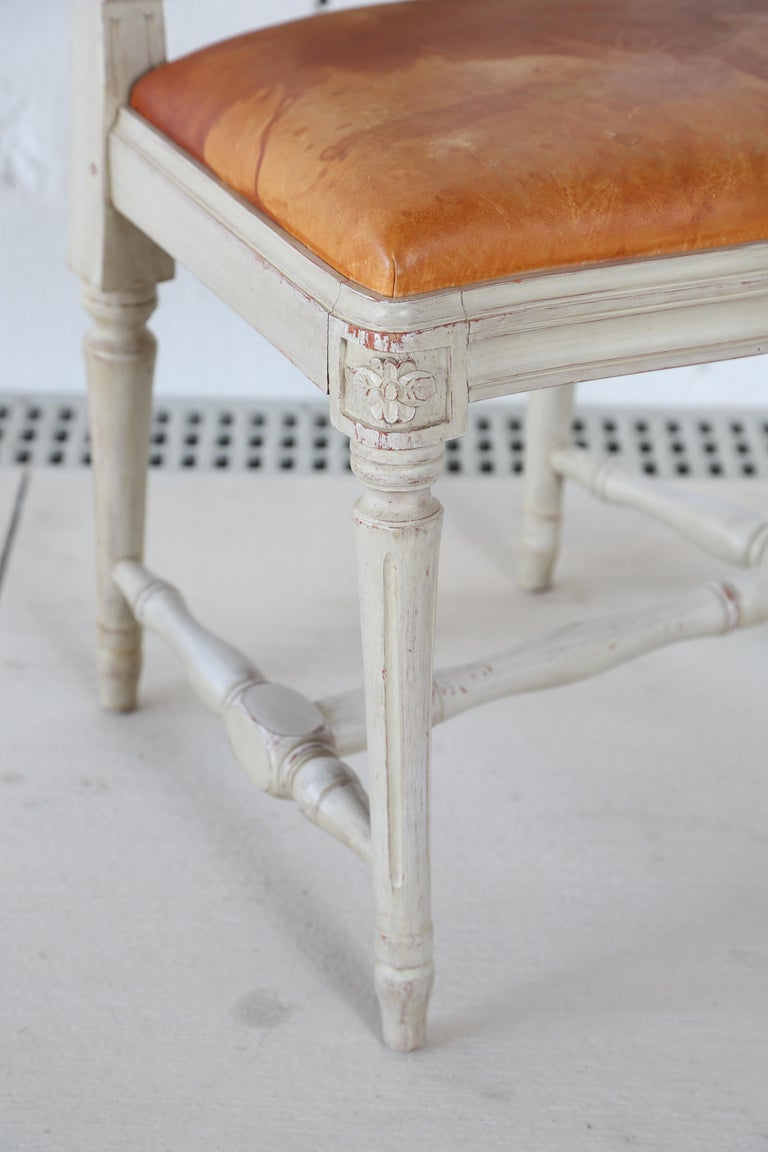 Wood 10 Swedish Gustavian Style painted Dinning Chairs, Mid-20th Century For Sale