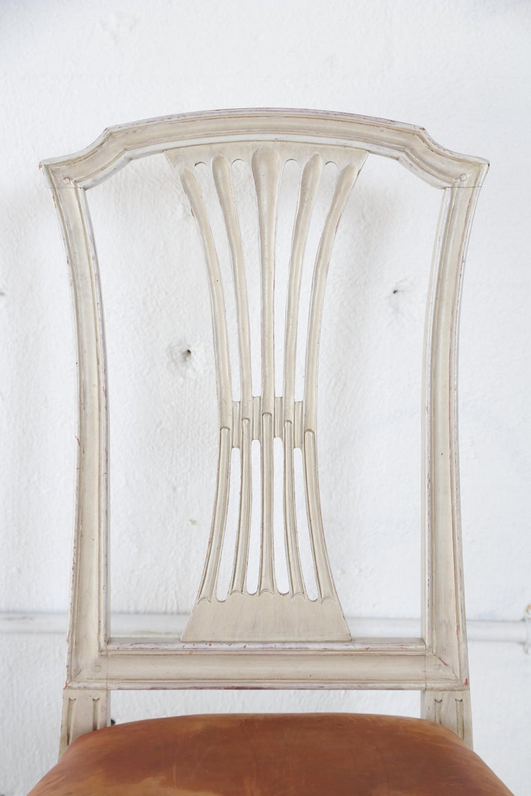10 Swedish Gustavian Style painted Dinning Chairs, Mid-20th Century For Sale 2