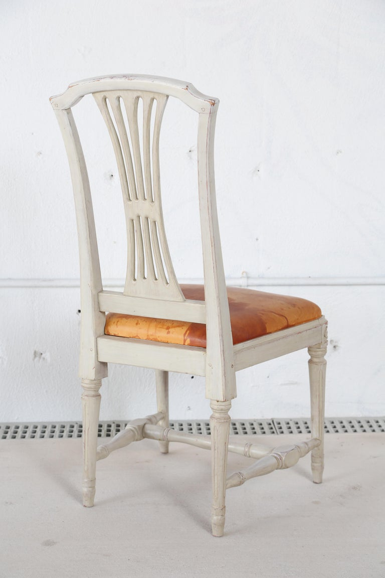 10 Swedish Gustavian Style painted Dinning Chairs, Mid-20th Century For Sale 4