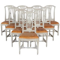 10 Swedish Gustavian Style painted Dinning Chairs, Mid-20th Century