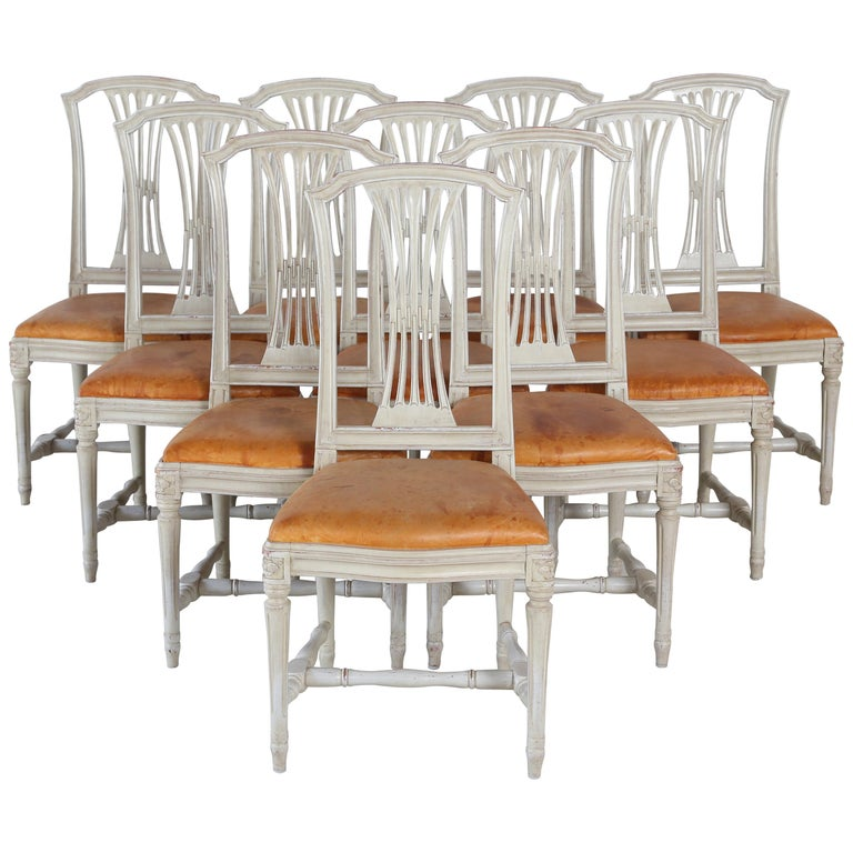 10 Swedish Gustavian Style painted Dinning Chairs, Mid-20th Century For Sale
