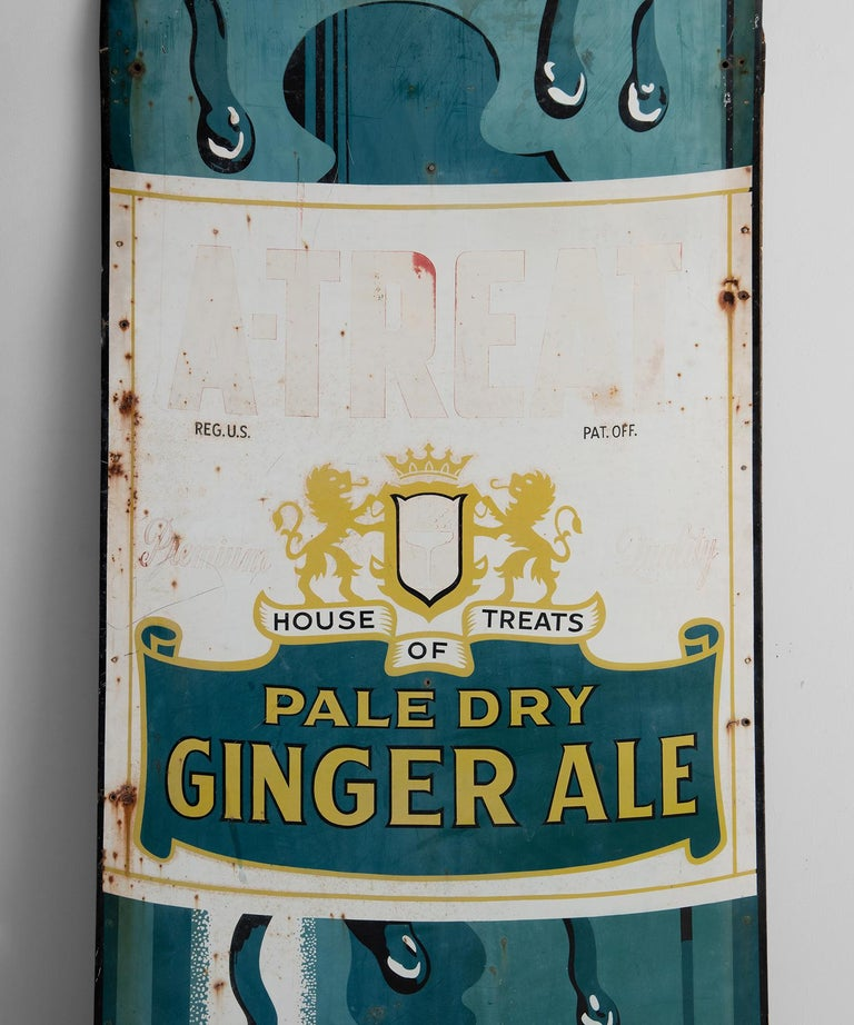 10' tall A-Treat ginger Ale advertisement, America, 20th century.  Enameled, painted aluminum sign.