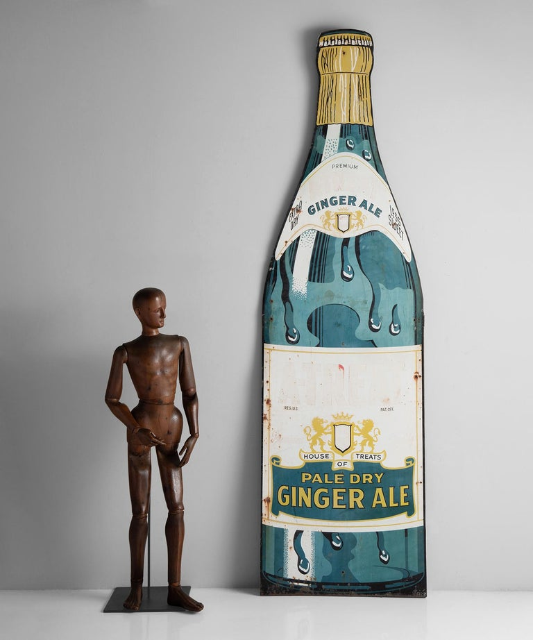 Painted A-Treat Ginger Ale Advertisement, America, 20th Century For Sale
