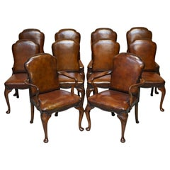 10 Victorian 1880 Walnut Shepherds Crook Hand Dyed Brown Leather Dining Chairs