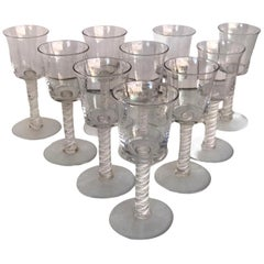 10 Vintage Blown Double Twist Latticino Stem Glass Goblets