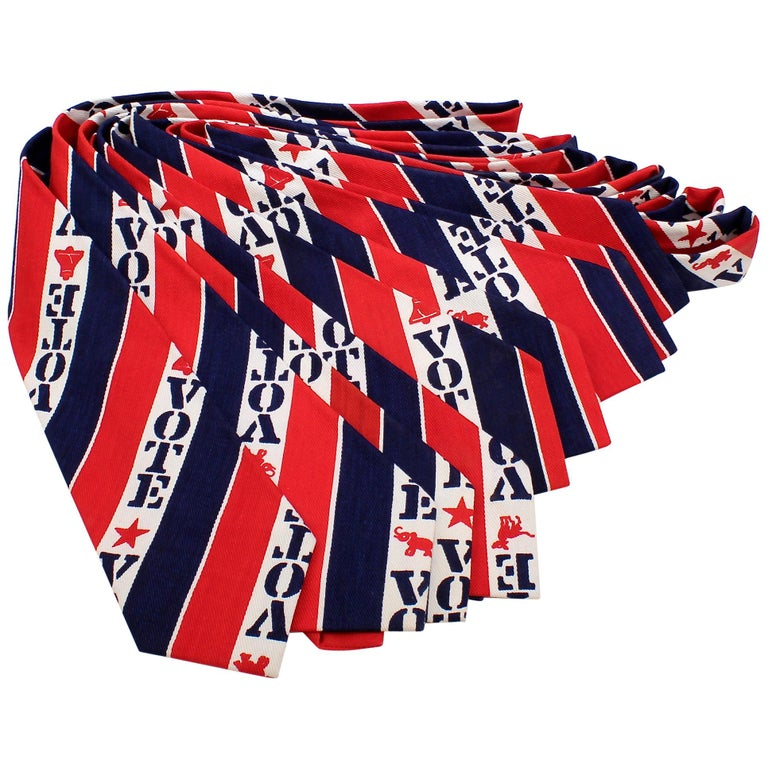 """10 """"VOTE"""" 1970s-1980s New Old Stock Vintage Election Themed Neck Ties For Sale"""