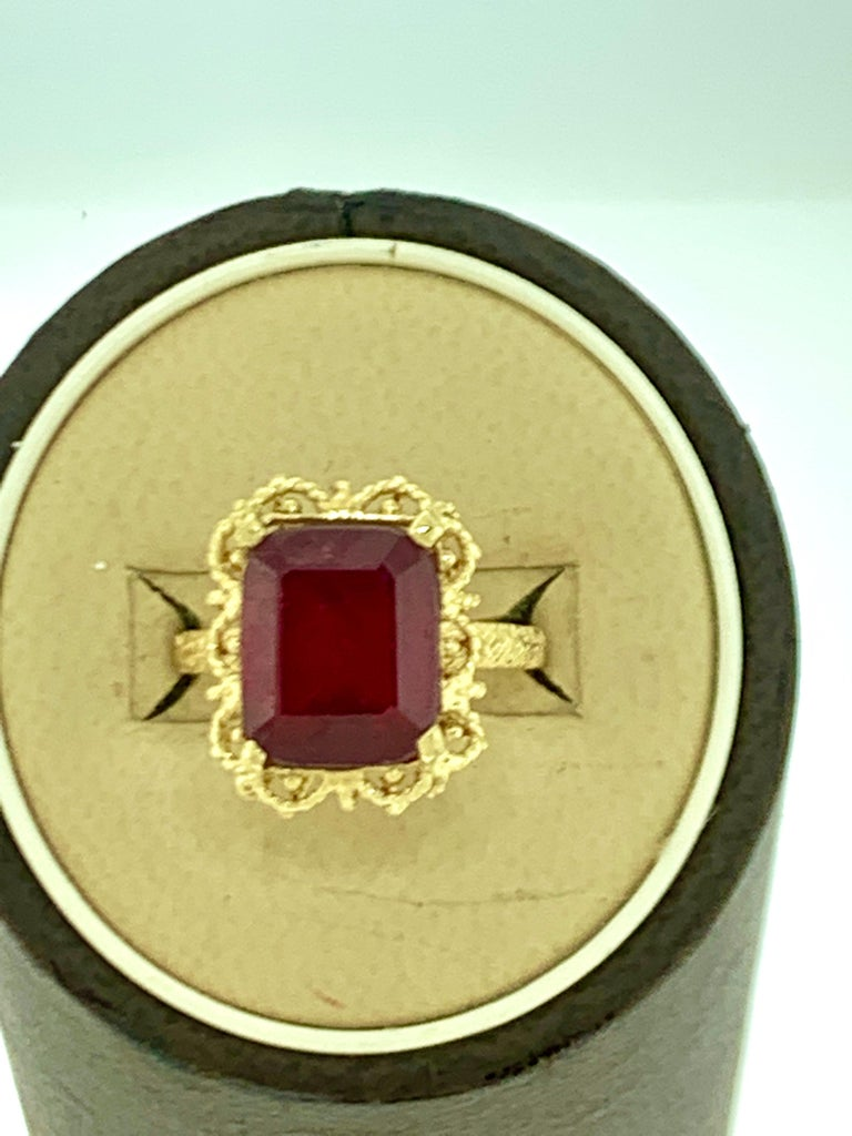 Emerald Cut 7 Carat Treated Ruby 18 Karat Yellow Gold Ring For Sale 7