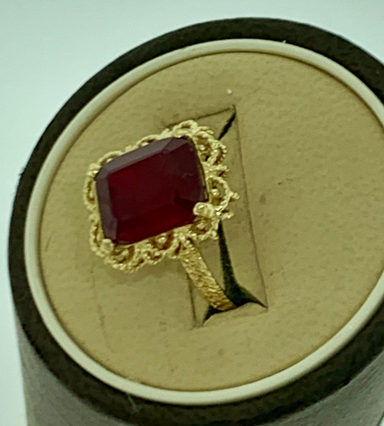 Emerald Cut 7 Carat Treated Ruby 18 Karat Yellow Gold Ring For Sale 10