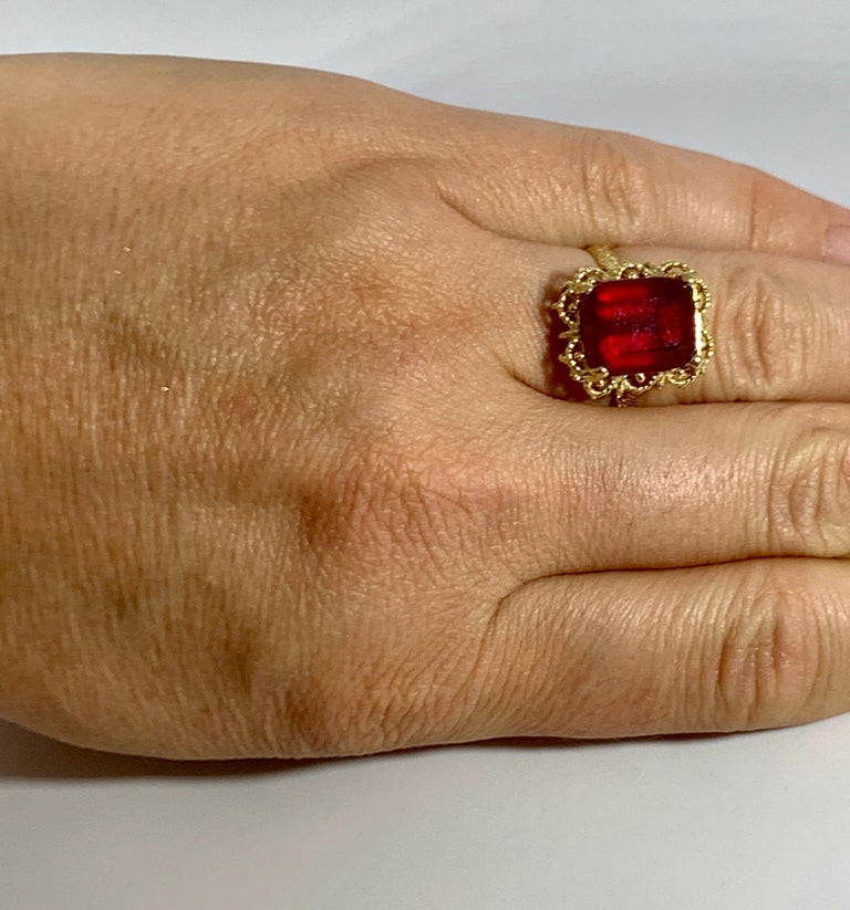 Emerald Cut 7 Carat Treated Ruby 18 Karat Yellow Gold Ring For Sale 1