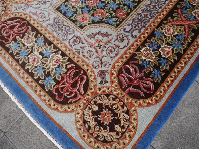 Mid-20th Century Renaissance Aubusson Savonnerie Style European Hand Knotted Rug For Sale