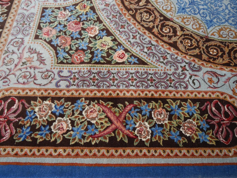 Wool Renaissance Aubusson Savonnerie Style European Hand Knotted Rug For Sale