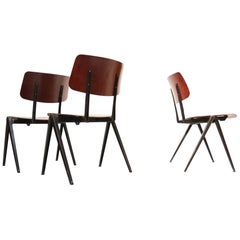10 x Dutch Industrial Design Prouve Style School Chairs S21 Compas Galvanitas