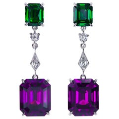 100 Anniversary of Suffragette Movement Garnet, Tsavorite, Diamond Drop Earrings