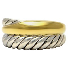 100% Authentic David Yurman 18 Karat Gold and Sterling Silver Cable Ring 8.5g