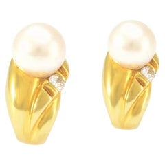 100% Authentic Mikimoto Solid 18 Karat Yellow Gold Pearland and Diamond Earrings