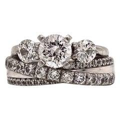 100% Authentic Neil Lane Pure Platinum and 18 Karat White Gold Diamond Ring