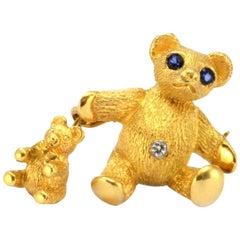 100% Authentic Tiffany & Co. 18 Karat Yellow Gold Sapphire and Diamond Bear Pin