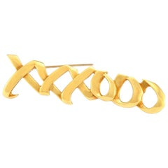 100% Authentic Tiffany & Co. Solid 18 Karat Gold Paloma Picasso XXXOOO Brooch
