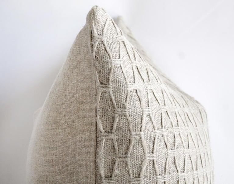 Contemporary 100% Belgian Natural Linen Decorative Accent Pillow For Sale