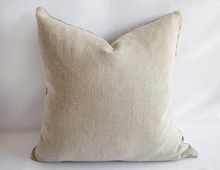 100% Belgian Natural Linen Decorative Accent Pillow For Sale 1