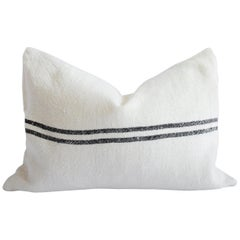 100% Belgian Off White Linen Lumbar Pillow with Black Stripes