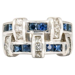 1.00 Carat 18 Karat White Gold Sapphire Diamond Band Ring