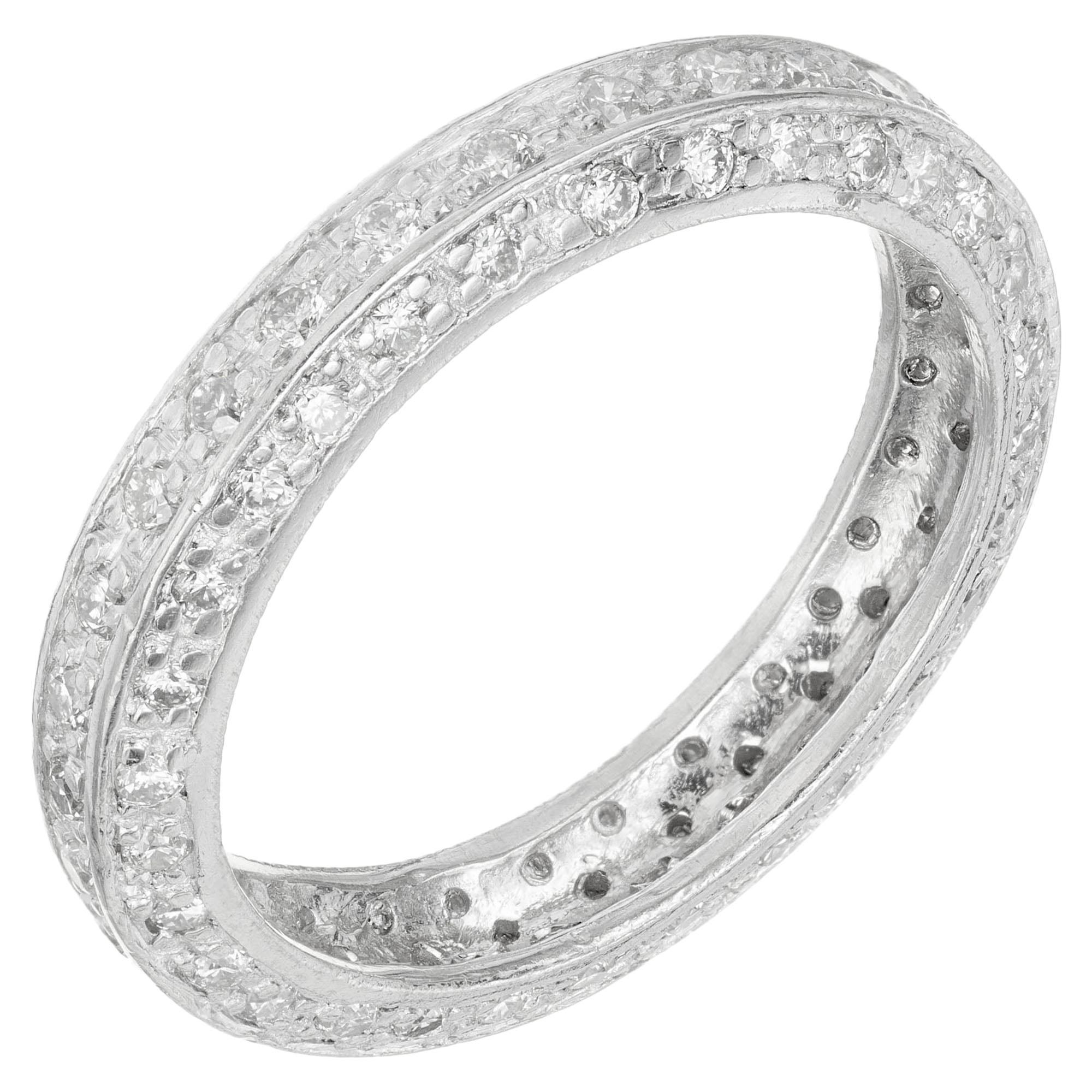 1.00 Carat 3-Row Diamond Platinum Eternity Wedding Band Ring