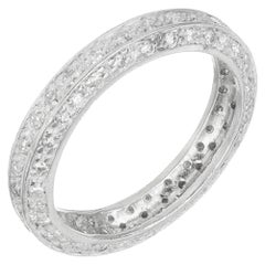 1.00 Carat 3-Row Diamond Platinum Eternity Wedding Band Ring