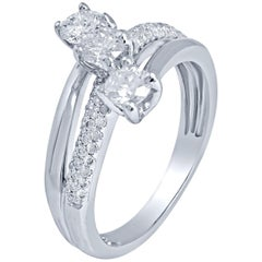1.00 Carat 3-Stone and Pave Diamond Certified Diamond Ring 14 Karat White Gold