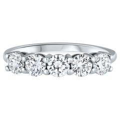 1.00 Carat 5 Stone Diamond Wedding Ring in 14k White Gold, Shlomit Rogel