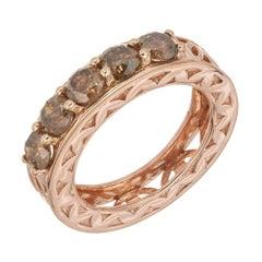 1.00 Carat 5 Stone Natural Brown Diamond Rose Gold Mid-Century Wedding Band Ring