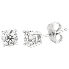 1.00 Carat All Natural Diamond Stud Earrings G SI 14 Karat White Gold