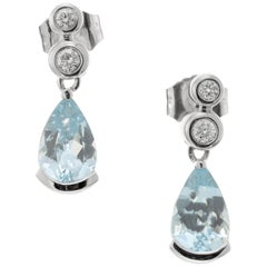 1.00 Carat Aquamarine Diamond White Gold Dangle Earrings